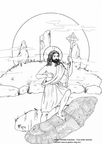coloriage,jésus,paques,ressuscité,chrétien,fete religieuse,semaine sainte