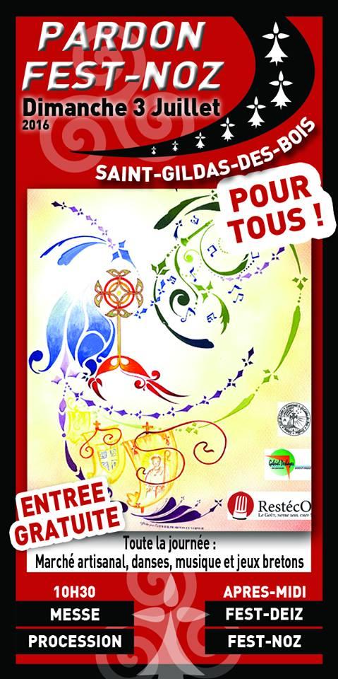 Affiche du Pardon de Saint-Gildas des Bois.