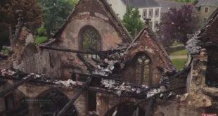 Survol en drone de l'église de Trémel incendiée & appel aux dons