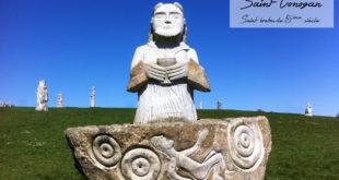 Statue de saint Conogan à la vallée des saints, photo par Florent Grouin.