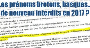 Pétition pour autoriser les prénoms bretons.