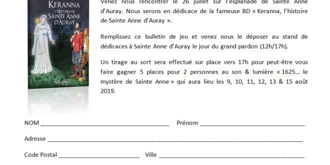 Venez nous voir au stand de Sainte Anne d'Auray et tentez de gagner des entrées au son & lumière