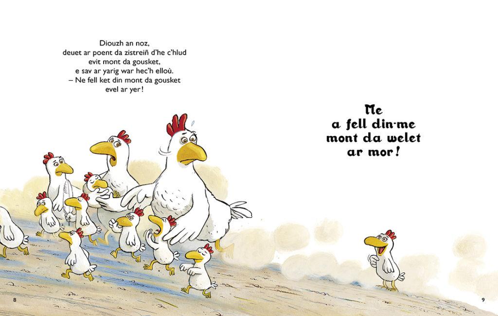 La petite poule qui voulait voir la mer, le livre en breton.
